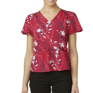 Tops - red floral peplum top, size Petite XL